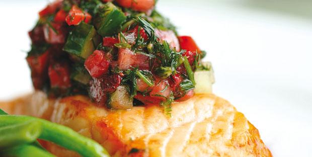 Pavé de saumon aux fraises